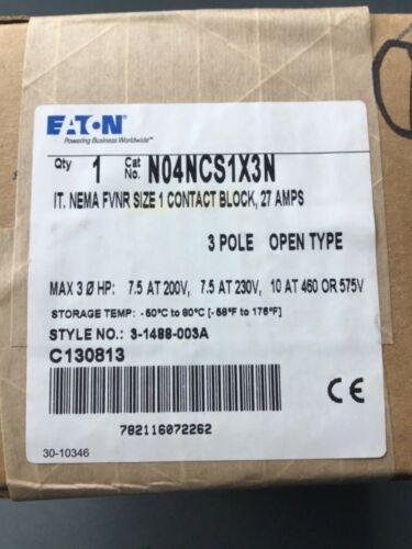 Eaton N04NCS1X3N IT. NEMA FVNR size 1 contact block, 27amps, 3 pole Open Type