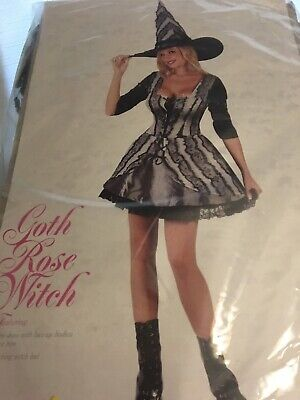 Women's Gothic Rose Witch Elegant Low Cut Mini Dress & Hat Costume S/M #5481 - Elegant Witch Costume