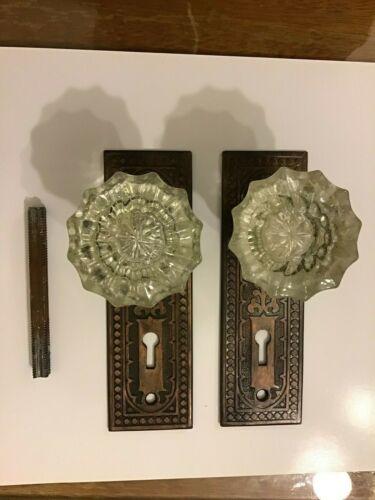 Vintage Victorian1920-30s Glass Knobs Brass & Gothic Tulip Back Plates Salvage
