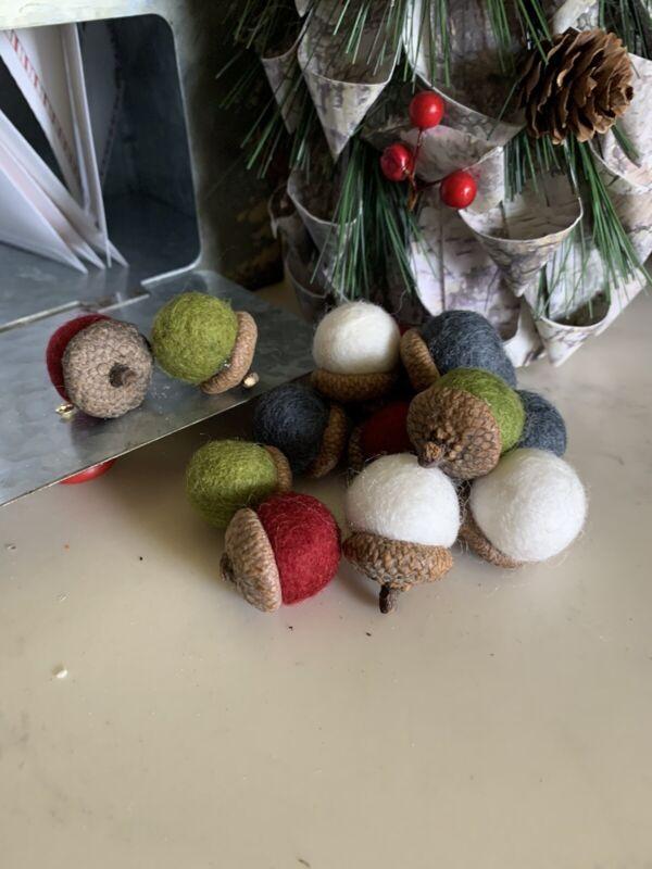 12 Large Handmade Needle Felted Wool Acorn Rustic Christmas