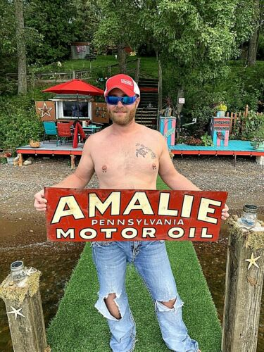 Vintage Amalie Motor Oil Metal Sign Gas Gasoline Service Station 36x12