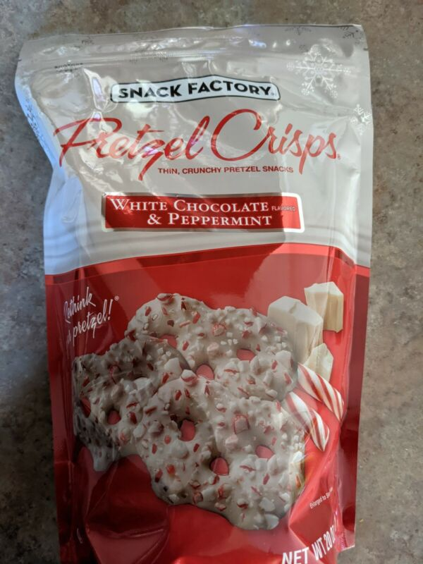 Snack Factory Pretzel Crisps White Chocolate & Peppermint Flavored Holiday 20oz