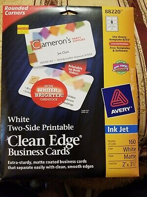 Avery White Business Cards New Open Pkg. 20 Sheets 8 Cards Per Sheet