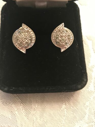 Vintage Sterling Silver 925 Rounded Beaded/Crystal Post Pierced Earrings 3.59 wt