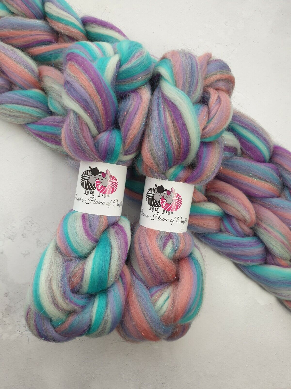 как выглядит Merino Stellina roving, wool top, 100 g, ONCE UPON THE TIME фото