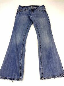 American Eagle Womens Blue MED Wash Cotton Boot CUT Jeans Size 4 Cute | eBay