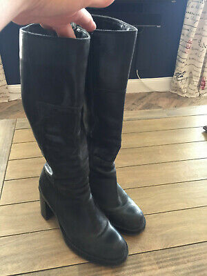 Skechers Black Leather Knee High Boots - size 7.5