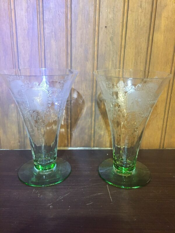 Rare Pair of 2 Vintage CAMBRIDGE Etched Emerald Green Footed Tumblers Gorgeous!