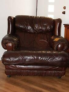 Armchair - King Size Brown Leather Ardross Melville Area Preview