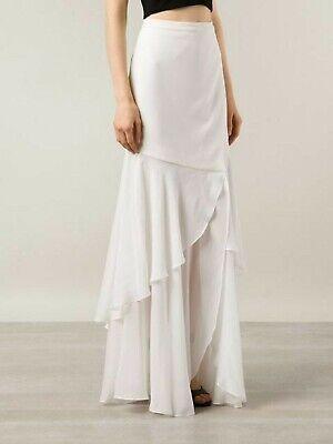 Haute Hippie Long Ruffled Silk Combo Faux Wrap Skirt Swan Ivory NWT $595 Small