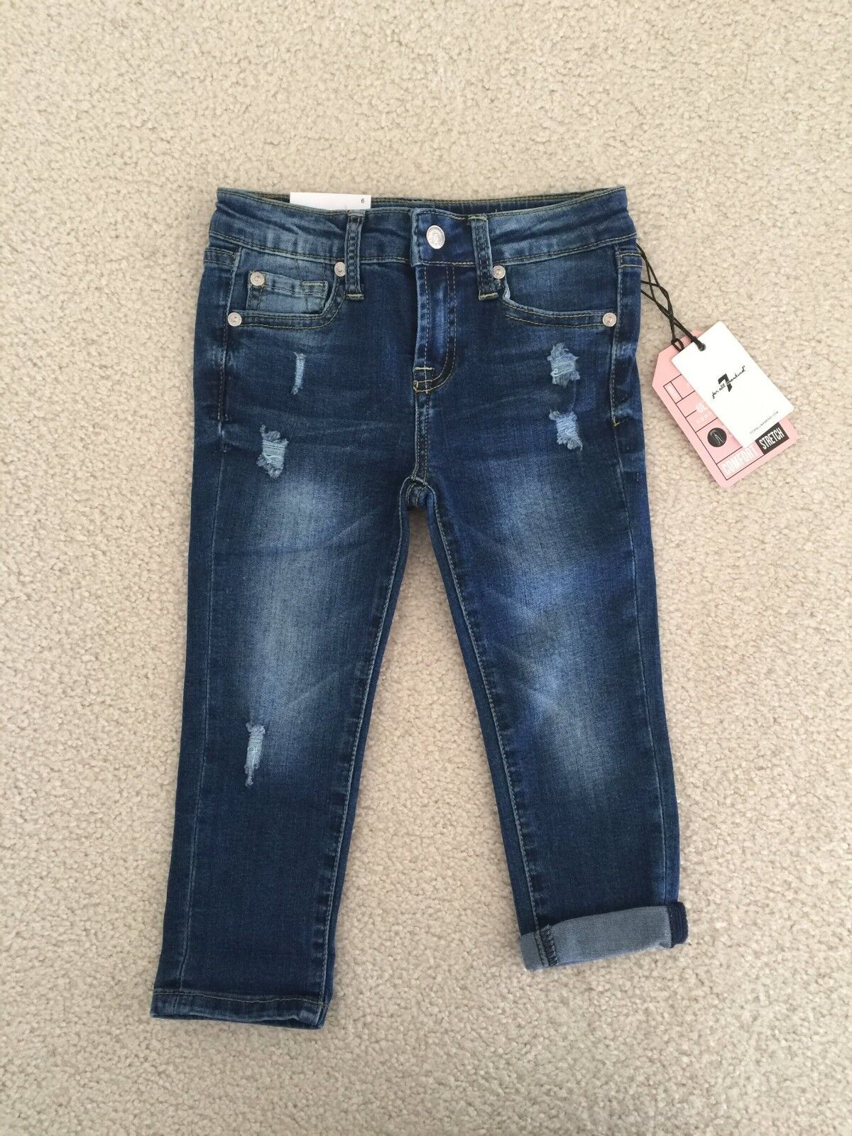 NWT 7 For All Mankind Girl's Skinny Crop and Roll Bella Heri
