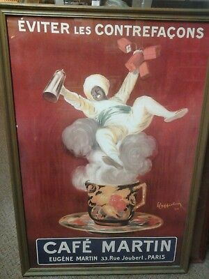 - Vtg Leonetto Cappiello advertising Paris France Cafe Martin 26×38 framed poster