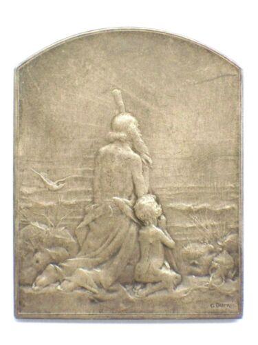 Art Nouveau French Silver Medal Plaque By G. Dupre Measures 83.0 Grams