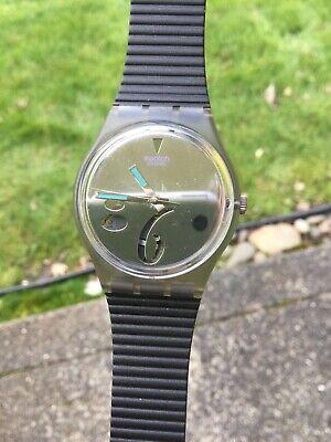 Vintage Original 1991 Swatch Watch GM107 HIGH BEAM Date Watch Wristwatch CASE +
