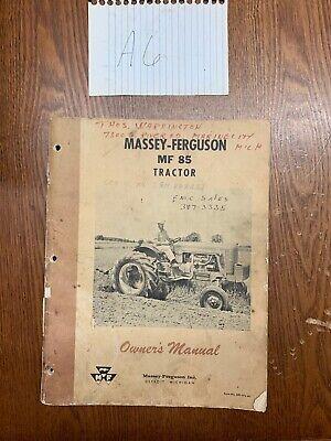 Massey Ferguson Mf85 Mf 85 Tractor Operators Manual Original Oem Vintage