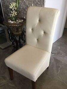 Dining chairs - 6 off white dining chairs with walnut timber legs Bankstown Bankstown Area Preview