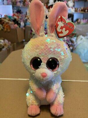 "Beanie Boo Rabbit (Ty FLIPPABLES: BONNIE -Shiny Pink/White Sequined Rabbit 6"" Beanie Boo!)"