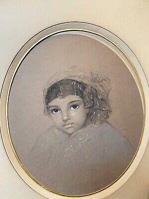 School French Orientalist 19eme Fillette Drawing Antique