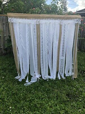 Burlap Wedding Backdrop Garland Reception Lace Rustic Shabby White 5Ft X 5Ft