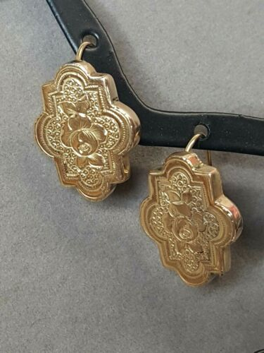 Antique Victorian 10K Yellow Gold Floral Design Pierced Earrings