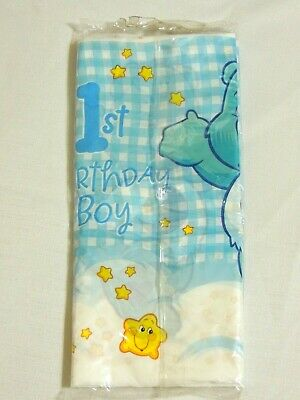 CARE BEARS 1st  BIRTHDAY BOY  1- PLASTIC TABLE COVER 54