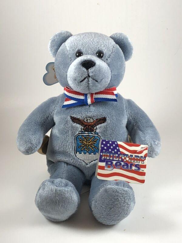 """Holy Bears Air Force Stuffed Plush Blue 9"""" Teddy Bear 2003"""
