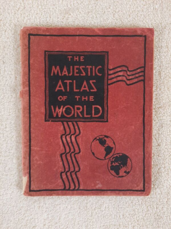 Majestic Atlas Of The World DECO Style Vintage Color Maps Illustrated