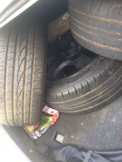 4 rims and tyres all with good roadworthy tread