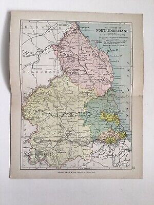 NORTHUMBERLAND c1886 Antique County Map Philip Railways Parliamentary Boroughs