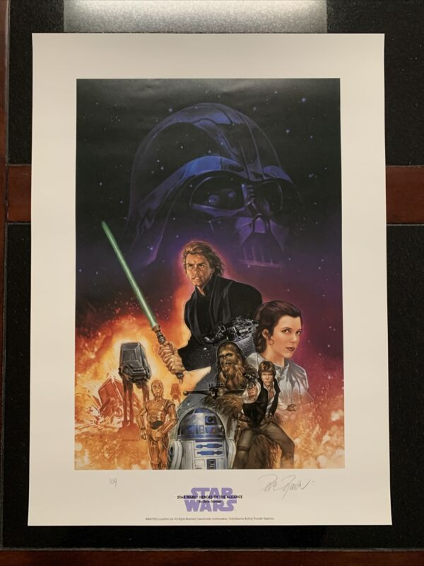 """STAR WARS LlMITED EDITION LITHO (1995) SIGNED BY DAVE DORMAN 16""""x22""""!"""