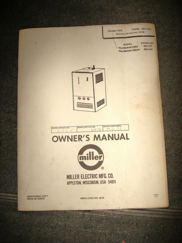 Miller Thunderbolt 225V & 225VP Owners Manual Oct 1975