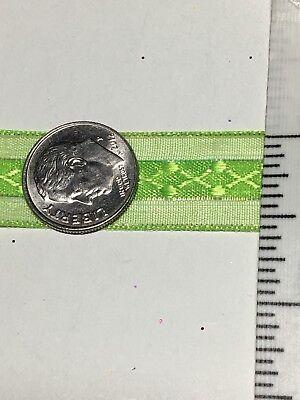 "1 Yard Prom Corsage Ribbon 5/8"" Lime Green Metallic Ribbon Sold By The Yard - Lime Green Ribbon"