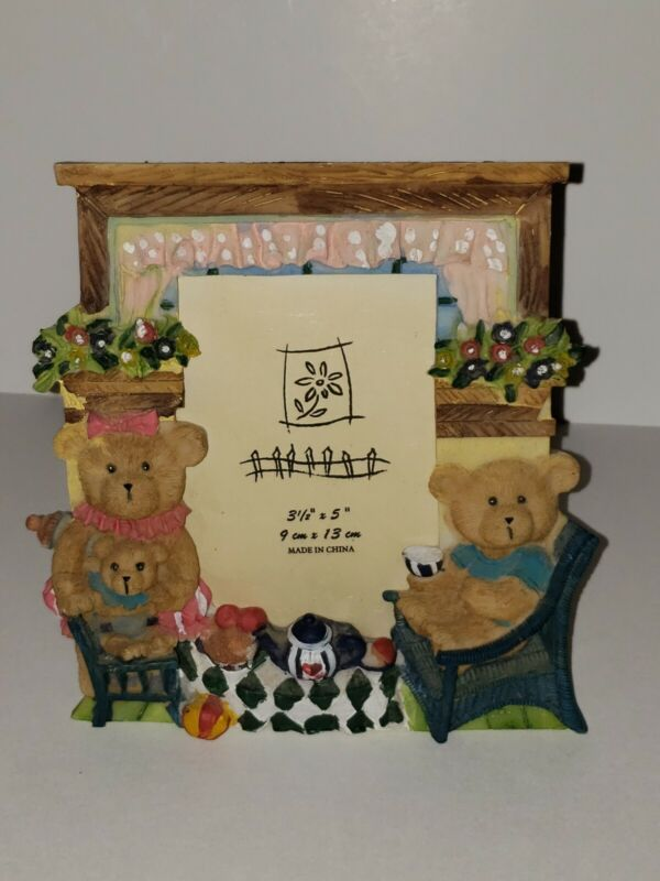 """Baby Ceramic Hand Painted Picture Frame~ Bears~ 3 1/2"""" x 5"""""""