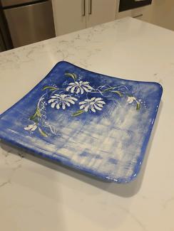Handpainted large square platter