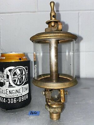 Brass Flat Glass Powell Oiler Stamped 5 Hit Miss Gas Engine Vintage Antique