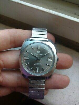 Waltham 17 Jewels Automatic Mens Chrome Case Date Window Wristwatch Runs Well
