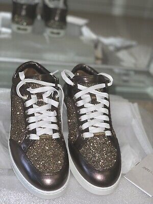 Jimmy Choo New Gold Miami Trainers Size 39 UK6