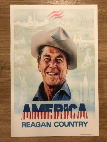 1980 Ronald Reagan America is Reagan Country Election Campaign Poster Sign