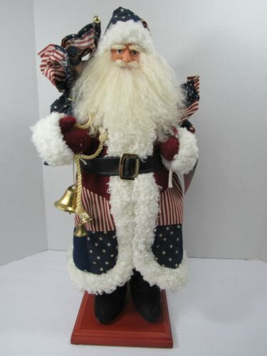 """VTG 1999 Santa Home For The Holidays Collectible 21"""" Figure Patriotic Christmas"""