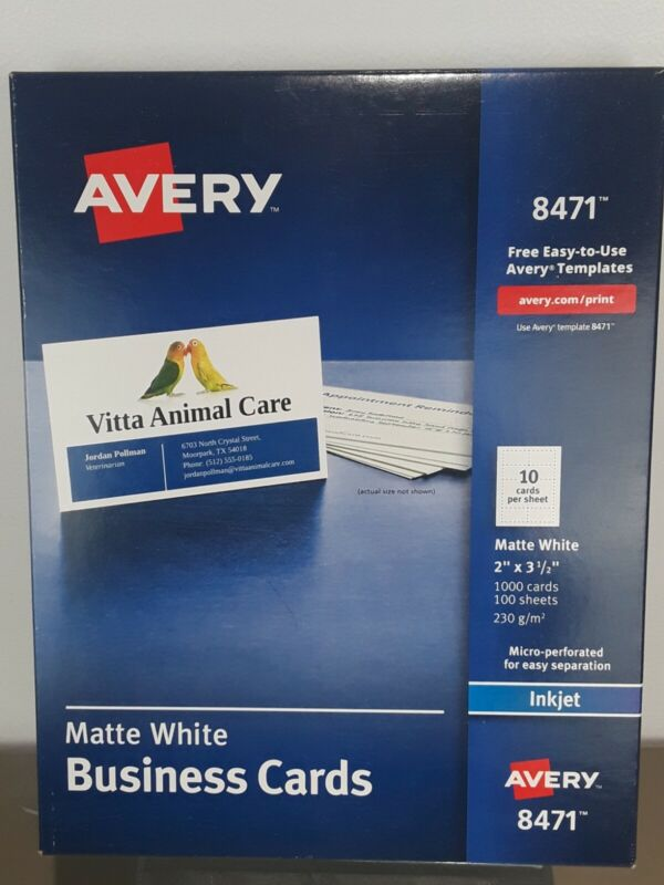 "Avery 8471 2"" x 3.5"" Business Cards, Matte White, Inkjet, 1,000 Cards"