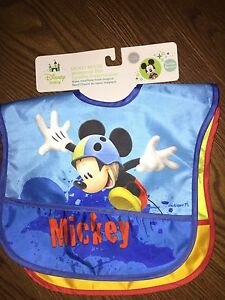 Brand new Mickey Mouse 2 pack waterproof bibs