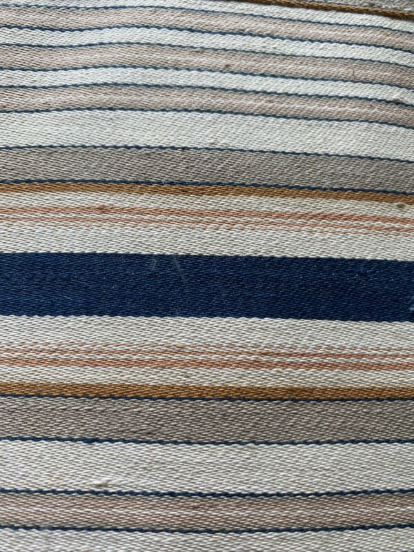 "Antique Striped Ticking Blue Orange  Cream Tan 52"" Body Feather Pillow Cushion"