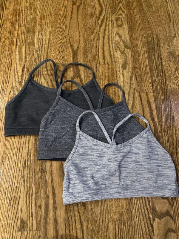 lululemon Black And Grey sports bra SET OF 3 size 4