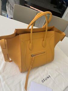 100% AUTHENTIC Céline Yellow Phantom Large Leather Hand Bag