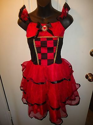QUEEN OF HEARTS ADULT HALLOWEEN COSTUME sleeveless Dress Black Red Tulle Skirt