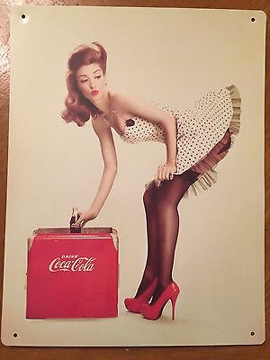 Tin Sign Vintage Coca Cola Pin Up Girl