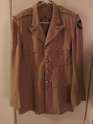 Ww2 Usaaf Suntan Officers Jacket With Felt Patch And 2nd Lt Bars Size 42