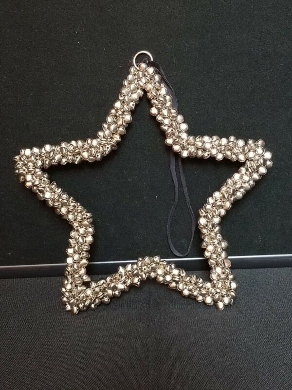 """Silver Bell Star shaped Hanging decoration 9"""" Christmas decor"""