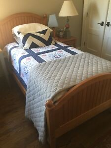 Ethan Allen Twin Bed - Frame  and Sealy Mattress and Box Spring