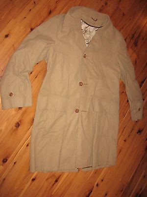 MENS 42 VINTAGE BEST SEASON MATES ALL WEATHER TAN TRENCH COAT HUNTING DOG